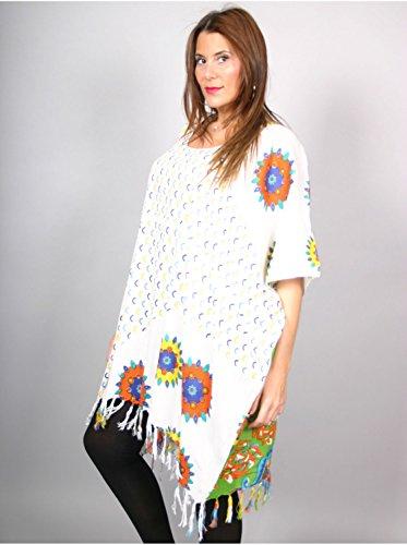 Vêtement Femme Grande Taille Tunique longue à fleurs blanche Blanc