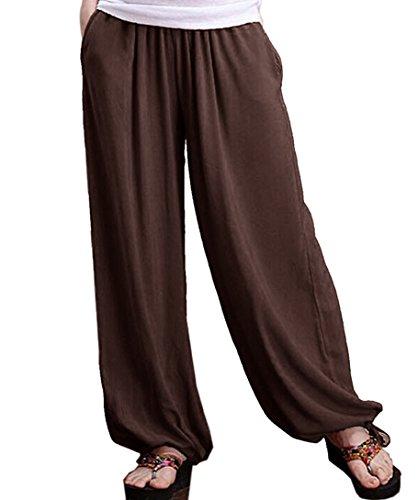Aivtalk - Pantalon Harme Yogqa Femme Élastique - Pantalons Jambes Larges en Lin - Pantalons Eté Casual Café