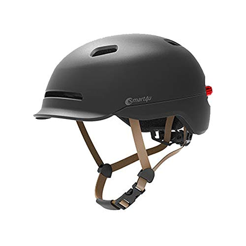 Smart4u wasserdichter Fahrrad Smart LED Helm mit automatischem Lichtwarnlicht (Schwarz, L)