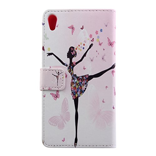 iPhone 6S plus Brieftasche, Felfy Ultra Slim Flip für / Apple iPhone 6S Plus / 6 Plus (5.5 Zoll) / Leder Etui Ledertasche Schutzhülle Case Cover / Relief Schön Rosa Rose Blume Stil / 1x Rosa Flower An Dancing Girl