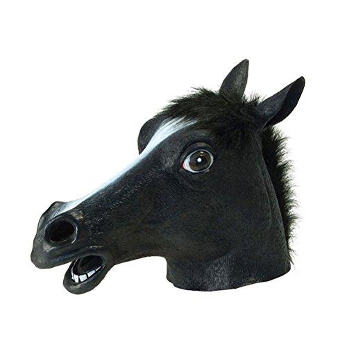 (Tinksky Voller Kopf Maske Pferd Kopf Maske Latex verrückt Gummi Party Halloween Kostüm Maske)