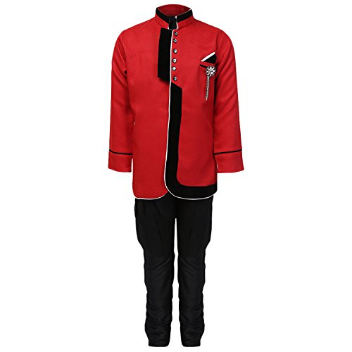 AJ Dezines Boys Indo Western Sherwani Suit (644_RED_5_Red_5-6 Years)