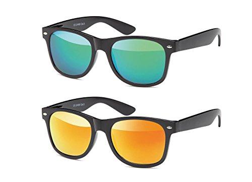 MOKIES Unisex Sonnenbrillen - UV400 Filterkategorie 3 CE Kennzeichnung - Wayfarer Design - Polycarbonat - mit Federscharnier - B-SET Grün, Rot