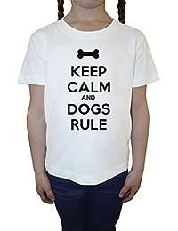 Keep Calm And Dogs Rule Blanco Algodón Niña Niños Camiseta Manga Corta Cuello Redondo Mangas White Girls Kids T-shirt