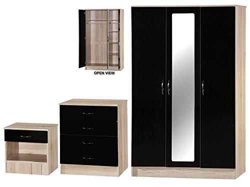 Alpha schwarz hochglanz und Sanremo Eiche Effekt verspiegelt Set, Holz, mehrfarbig, 3Stück (Stück Schlafzimmer-set 3 Verspiegeltes)