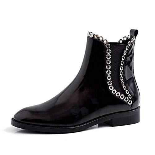QPDUBB Ankle boots Studded Ankle Boots Women Rivet Cow Leather Chelsea Booties Woman Elastic Shoes Female Low Heels Shoes Ladies