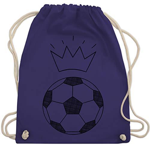 Fußball - Fußball Skizze mit Krone - Unisize - Lila - WM110 - Turnbeutel & Gym Bag