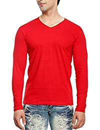 Tees Collection Men's V-Neck Full Sleeve Red Color Cotton T-shirt