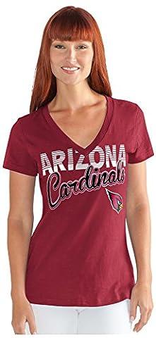 NFL Arizona Cardinals Women's 1St Down V-Neck Tee, Medium, Cardinal