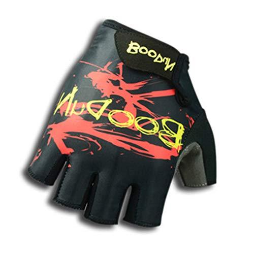 Epinki Radfahren Handschuhe Halbe Fingerhandschuh Herren Handschuhe Halbe Fingerhandschuh Atmungsaktiv Rock Schwarz Rot X-Groß Handschuhe Schwarz Rot
