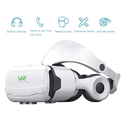 VR-Brille Handy 3D HD Blu-Ray-Linse Virtual Reality-Brille, ausgestattet mit HiFi-Kopfhörern, kompatibel mit 4,7-Zoll-6-Zoll-Smartphone,White