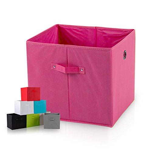 diMio SB1 Faltbox in Pink (Doppelpack) - Regalfach Aufbewahrungsbox mit Trageschlaufen und Fingerloch, extra tief für noch mehr Stauraum