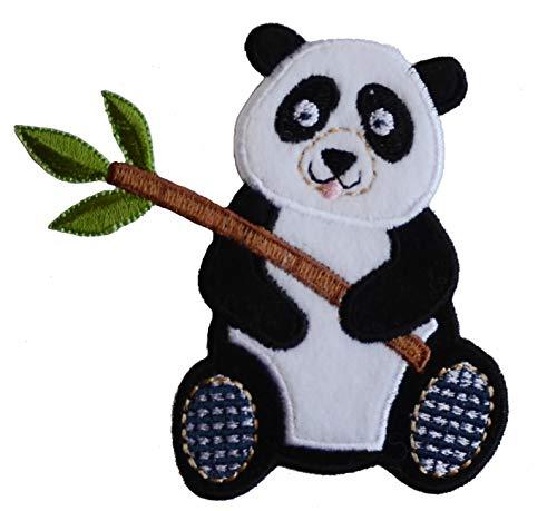 TrickyBoo 2 Aufbügler Panda 9X9cm Teddy 6X9cm Set Aufnäher Flicken Applikationen zum Ausbessern von Kinder Kleidung mit Design Zürich Schweiz für Deutschland und Österreich