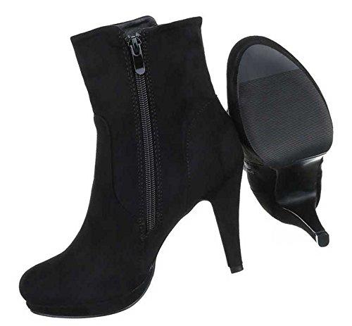 Damen Stiefeletten Schuhe High Heels Boots Schwarz Schwarz