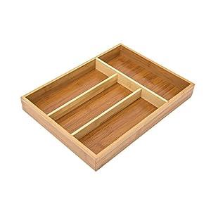 Relaxdays Besteckkasten aus Bambus HxBxT: ca. 4 x 25 x 34cm Besteckeinsatz mit 4 Fächern als Küchenorganizer und Schubladeneinsatz pflegeleichter Schubladenkasten für Besteck Organizer aus Holz, natur