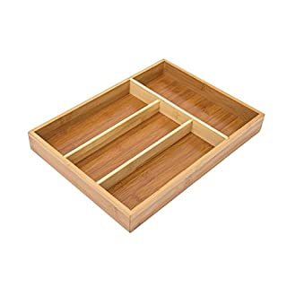 Relaxdays Kitchen Drawer Organiser, 4 x 25 x 34 cm, with 4 Compartments, Bamboo Cutlery Tray, Brown