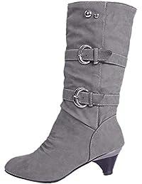 OSYARD Bottes Cuissardes Femme Talons Hauteur Genoux Sexy Cuissardes Daim  Bottines Chaud Chaussures 255d22338f9