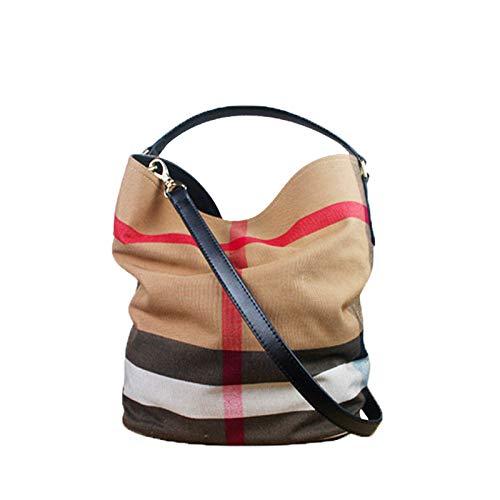 Louis Vuitton Canvas Tote Bag (Ldyia Tasche Damen Tasche Eimer Tasche Canvas Tasche Plaid Handtasche Schulter Umhängetasche, schwarz)