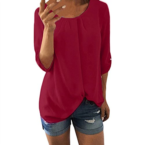 TITIU Damen Lose Patchwork Casual Knopf Kurzarm Bluse Oberteil Tees T-Shirt Tops(X3-Rot,EU-44/CN-XL)