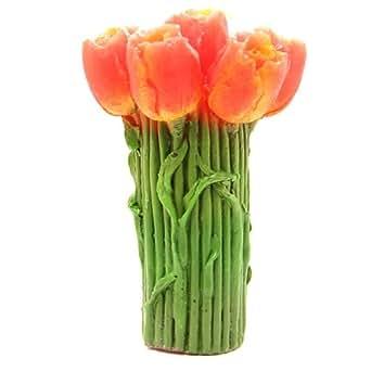 6 Bougies en forme de fleurs rouges oranges