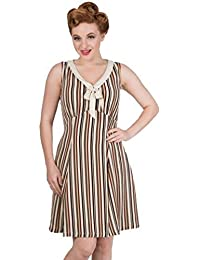 950ade25927 Banned Apparel I Swear Vintage Retro 50s Brown Striped Dress