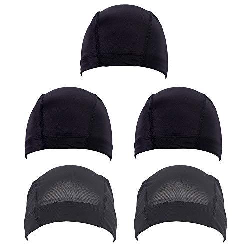 5 Stücke Mesh Dome Perücke Kappe Spandex Dehnbar Haarnetz Atmungsaktiv Schwarz Weaving Cap für Männer Frauen Spandex Cap