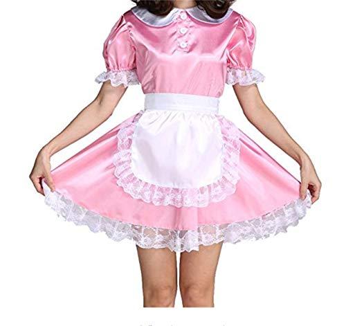 iixpin Dienstmädchen Kostöm Einteiliges Kleid Spitze&Satin Damen Erotik Cosplay Uniform Kostüm Set Rosa (Babydoll Spitzen Kostüm)