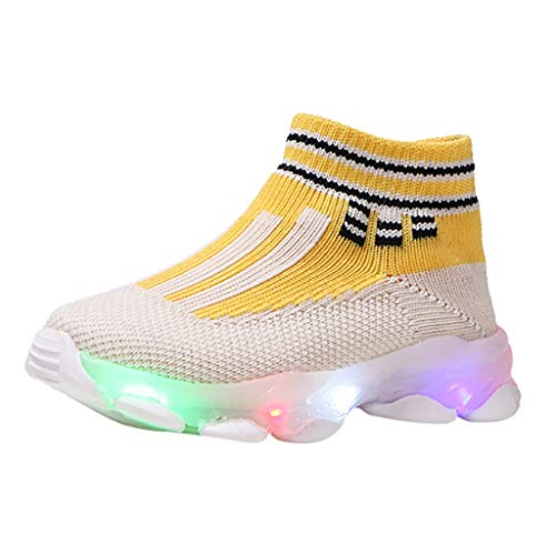Alwayswin Kinder Freizeitschuhe Baby Mädchen Jungen Mesh Sneakers Socken Schuhe Led Leuchtende Schuhe Outdoor Slip-On Sportschuhe Sport Run Sneakers Atmungsaktive Kinderschuhe -