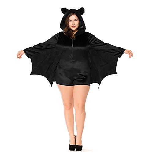 Dreamworldeu Damen Fledermaus Kostüm Fledermäuse Overall Schwarz für -