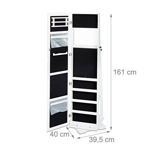 Relaxdays Schmuckschrank weiß mit Spiegel, XXL-Schmuckkasten abschließbar, Spiegelschrank zum Drehen HBT: 161x39,5x40cm - 3