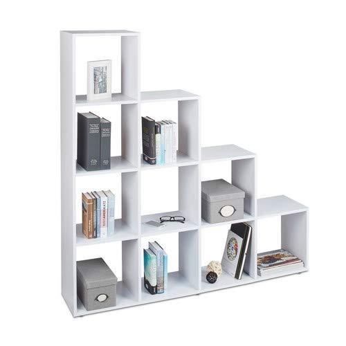 Relaxdays Stufenregal Holz, 10 Fächer, Treppenregal als Raumteiler oder Bücherregal, für Schuhe und Kleidung, weiß