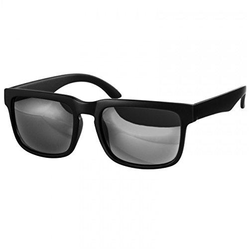Caspar SG018 Unisex RETRO Design Brille/Sonnenbrille mit gefrostetem Rahmen, Farbe:komplett schwarz/schwarz