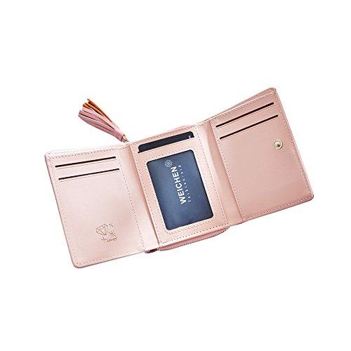 Yvonnelee Donne Della Signora Frizione Lungo Della Borse Borsa UP cuoio Della Carta Portafoglio Leather Titolare Rosa