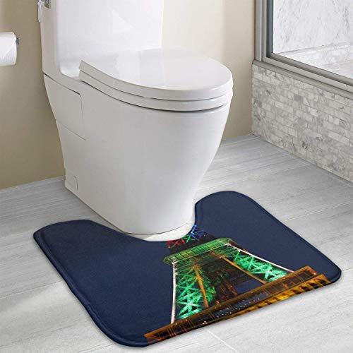 ower Contour Bath Rug, U-Shaped Polyester Toilet Floor Mat Non Slip Bathroom Shower Carpet ()