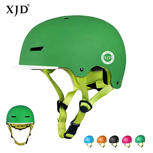 XJD Kinder Fahrradhelm Skaterhelm Kinderhelm CE-Zertifizierung für Fahrrad Skateboard Schifahren BMX für 3-8 Jahre Alt Junge Mädchen (Grün, S)