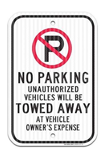 Miles2345 Parkplatz-Symbol für unbefugte Fahrzeuge Werden abgeschleppt Bundesland 30,5 x 45,7 cm 3M Prismatic Ingenieur Grade reflektierendes Aluminium für den Innen- und Außenbereich