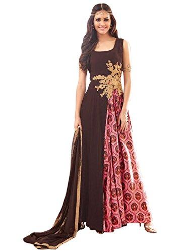 Designer Desk Graceful Salwar Suit - Semi stitched Partywear Anarkali Dress in Bollywood Style - Brown