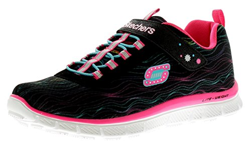 Skechers Größe 1 Schuhe Mädchen (Mädchen Skechers Skech Appeal Sittin' schöne Spitze geschnürt Sportlich Turnschuhe - schwarz/neon pink - UK Größen 1-5 - schwarz/neon pink, 37)