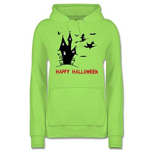 Shirtracer Halloween - Happy Halloween Hexen Haus - XXL - Limonengrün - JH001F - Damen Hoodie