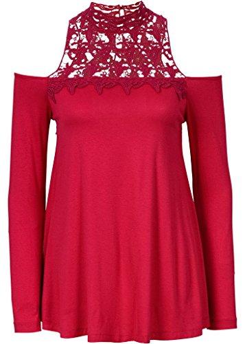 Smile YKK T-shirt Epaule Dénudée Femme Chemisier Dentelle Coton Tops à Manches Longue Fantaisie Rouge
