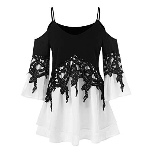 ESAILQ Frauen Applique Flowy Chiffon trägerlose Bluse Shirt(XXXXXL,Schwarz)