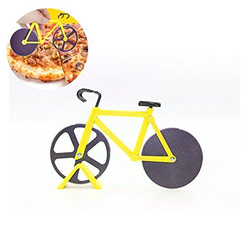 Bicicletta rotella tagliapizza in acciaio INOX di alta qualità, cravatta Langxian bicicletta rotella tagliapizza con doppia lama rotante Yellow