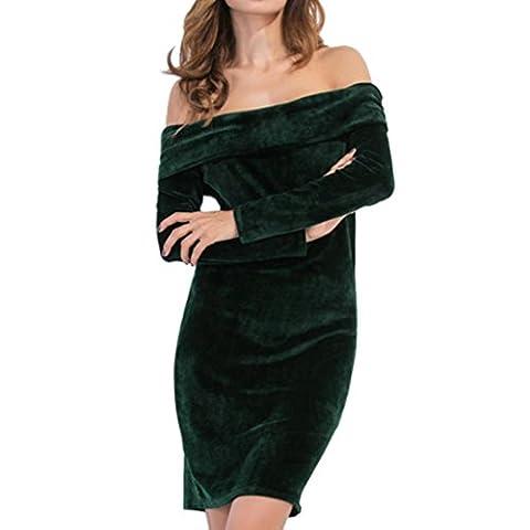 Robe pour femme Xinantime en velours à manches longues Décontracté Robe Robe bustier