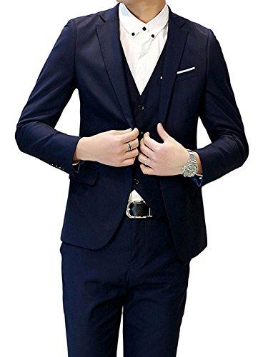 Herren Anzug Regular Fit Business Anzüge 3-Teilig Anzugjacke Anzughose Weste Navy