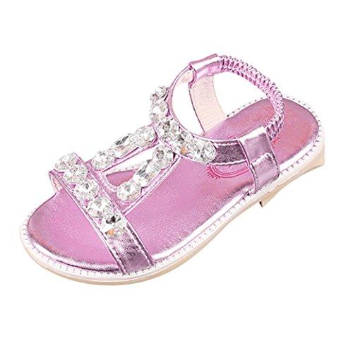 QinMM Sommer Kinder Baby Mädchen Sandalen Kristall Strand Sandalen Prinzessin Roman Schuhe Freizeitschuhe Niedlich Gold Silber Rosa 25-35 (34 EU, Rosa)