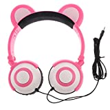 magideal Bougies chauffe-plat LED Musique casque Gaming pliable Ours d'oreille rechargeable casque