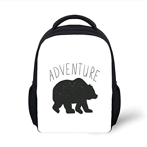 Kids School Backpack Adventure,Black Silhouette of a Wild Bear Zoo Animal Nature Love Passion Hipster Design,Black White Plain Bookbag Travel Daypack