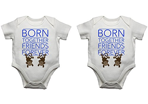Born zusammen Friends Forever Twin Baby Bodys sprampelanzüge Westen Set (0-3 Monate, Blau/Pink) -