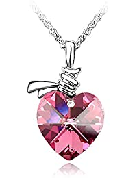 Crystal Heart Shape Pendant Necklace Made with Swarovski Crystal, with a Gift Box