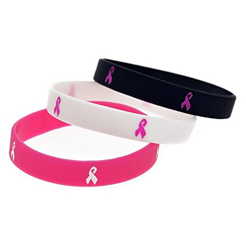 North King Silikon Armband Krebs Band inspirierende Armband Pink Ribbon kreative Geschenk-Set von 3 Stück (Ribbon Pink Ware)